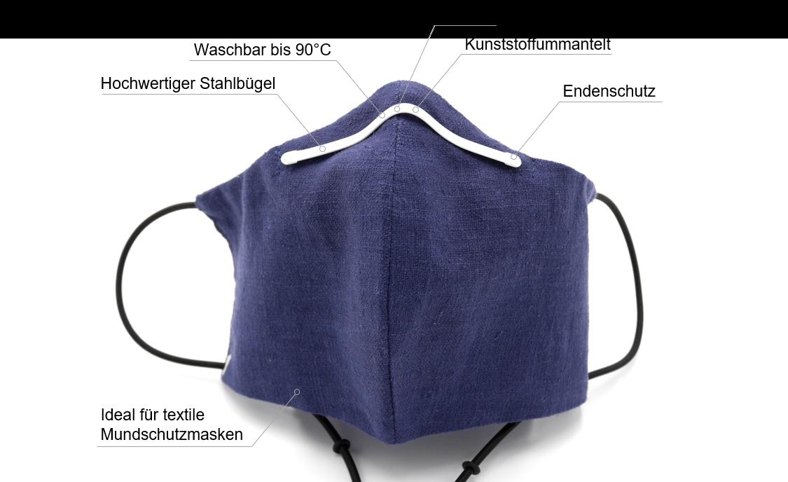 Nasenbügel für Mundschutzmasken zum Einnähen, Mundschutzmasken mit Nasenbügeln, Kunststoffummantelte Stahlbügel, Nasenklammern für Mundschutzmasken, Heftstreifen